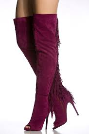 Plum High Heels Plum Faux Suede Thigh High Fringe Peep Toe Boots Cicihot Boots