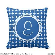 initial home decor blue polka dot monogram throw pillow on zazzle monogram