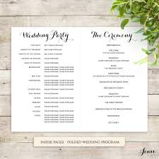 folded wedding program byron printable wedding order of service template wedding