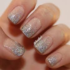 easy nail art glitter french tip silver glitter nail art design