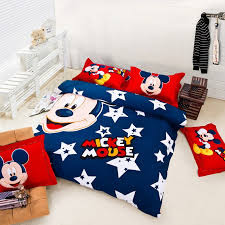 Minnie Mouse Single Duvet Set Blue Red Stars Sky Mickey Mouse Cotton Duvet Cover Bedding Sets