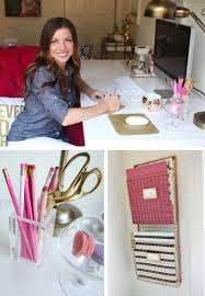 Pink Desk Organizers And Accessories by Leah Remillet U0027s Home Office Gold Spray Paint On The Wire Magazine