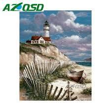 lighthouse home decor azqsd diamond embroidery set beach lighthouse home decor mosaic