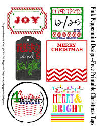 christmas gift tags printables pink peppermint design