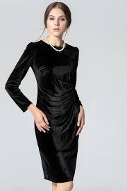 sleeved black dress womens sleeved neck slim velvet pleated winter dress