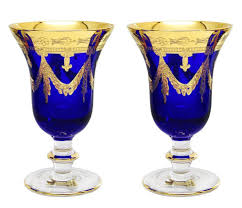 interglass italy set of 2 crystal blue wine goblets 24k gold