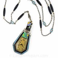 vintage necklace watch pendant images Silver gilt art deco enamel pendant watch jpg