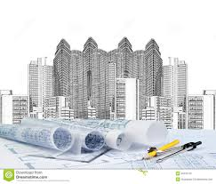 architectural building plans sketching of modern building and plan blueprint stock image