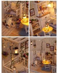 cutroom 1 32dollhouse miniature diy kit with cover led light cat