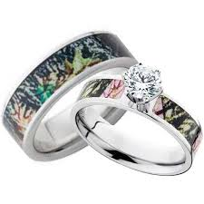 cheap wedding ring sets his and hers cz camo wedding ring set mossy oak camouflage and