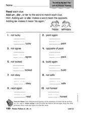 phonics prefixes un dis re 1st 2nd grade worksheet lesson