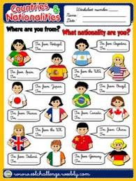 nationalities esl worksheets of the day pinterest english