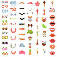 photo booth supplies 60pcs hawaii diy photo booth props for summer holidays luau