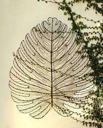 wall ideas metal wall art decor leaf accents set of 4 giant