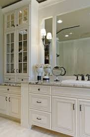 Black Bathroom Cabinets With White And Grey Counter Top And Black - Floor to ceiling cabinets for bathroom