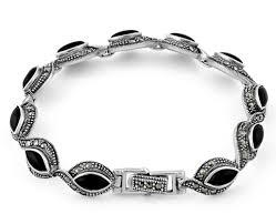 black onyx silver bracelet images Silver eye marquise black onyx marcasite bracelet png