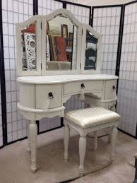 Antique Vanity With Mirror Antique White 3 Pcs Trini Vanity Desk Set With Stool For Sale In