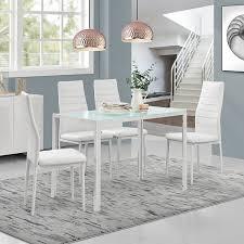 Esszimmergarnitur En Casa Moderner Esstisch Weiß 4er Stuhlset Weiß Amazon De