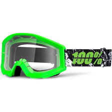 100 percent motocross goggles 100 percent new mx strata crafty dirt bike clear lime green