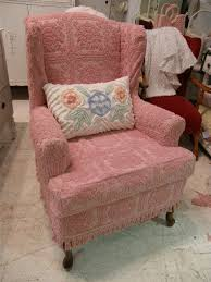 Red Shabby Chic Furniture by Shabby Chic Wingback Chair Slipcovered With Pink Vintage Chenille