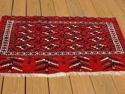 Red Blue Rug Antique Bukhara Turkmen Tubra Bag Rug Face Red Ivory Blue Tassels