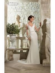 mori lee 5306 long lace sleeve ivory dress heart shaped back detail