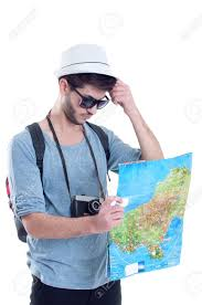 Map A Trip Lost Tourist Looking At City Map On A Trip Looking For Directions