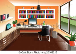 bureau clipart a vector illustration of modern looking workspace desk vector clip