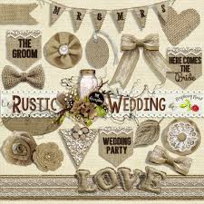 rustic wedding scrapbook a set of burlap themed items designed to coordinate with the