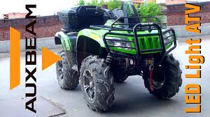 auxbeam led light bar install and test drive atv arctic cat 700