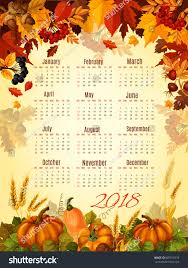 autumn calendar 2018 template thanksgiving day stock vector