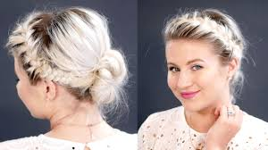 put your hair in a bun with braids french braids messy bun for short hair milabu youtube