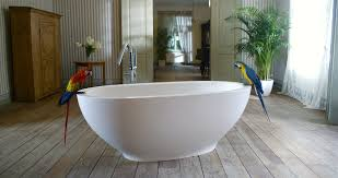 modern bathroom with white freestanding stone tub and white cream standing tub