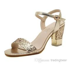wedding shoes chunky heel sparkly gold paillette chunky heel sandals fashion high heels