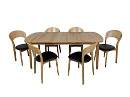 oiled oak dining table scandinavian oiled oak dining set with 6 chairs black leather seats
