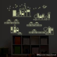 glow in the dark car and building city construction pvc wall