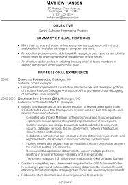 software developer resumes resume summary exles engineering exles of resumes