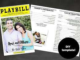 Program Template For Wedding Playbill Broadway Template For Rehearsal Dinner Program
