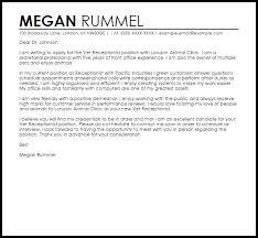Sample Resume For Front Office Receptionist by Lovely Design Veterinary Receptionist Cover Letter 3 Vet Sample