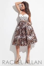 rachel allan 4045 leopard print tea length cocktail dress