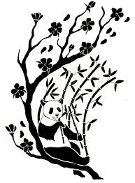 tribal panda bamboos with flowers on tree branches