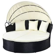 Patio Furniture Round Outdoor Patio Rattan Round Retractable Canopy Daybed Sunloungers