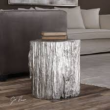 tree stump accent table elegant silver tree stump accent table pedestal round faux bois