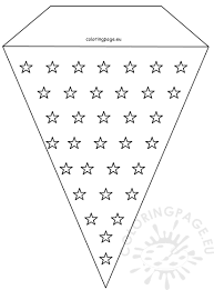 stars 4th july pennant banner template coloring page
