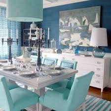 Dining Room Drum Chandelier by Beach Dining Room Design With Blue Drum Chandelier And Chairs And