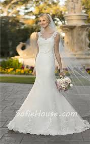 Fitted Wedding Dresses Fitted Mermaid Open Back Tulle Lace Strap Wedding Dress With Sash