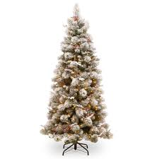 buy the 7 5 ft pre lit snowy bedford pine slim artificial