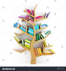 tree knowledge wooden shelf multicolor books stock illustration