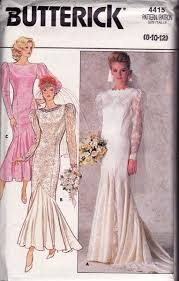 wedding dress sewing patterns butterick 4415 80s wedding dress by allthepreciousthings on zibbet