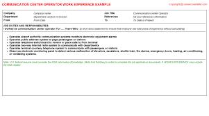 Telephone Operator Job Description Resume by Communication Center Operator Cv Work Experience